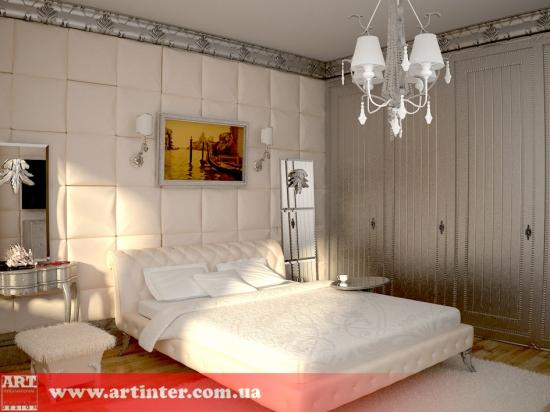 Проект спальной комнаты в стиле фьюжн